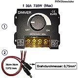 KaBenjee PWM 0~100% Interruptor de regulación de gama ancha con la perilla giratoria, interruptor de ON / OFF con la cubierta de aluminio negra, regulador máximo de 30A para 5050 3528 2835 5630 5730 Luz de tira del LED, regulador casero del interruptor del regulador de la alta calidad del LED (DC12 ~ 24V)