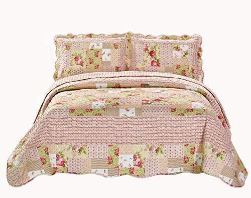 Linen Plus Tagesdecke, gesteppt, für Doppelbetten, extra lang, 2-teilig, Blumenmuster, Patchwork, Pink/Beige / Grün (Florale Bettwäsche Twin Xl)