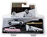 ELVIS Presley Set - 1955 Cadillac + 2015 Chevrolet Silverado + Film-Anhänger - Greenlight 1:64