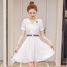 2017 Coreano verano Falda elegante ropa de algodón de manga corta vestidos,L,blanco