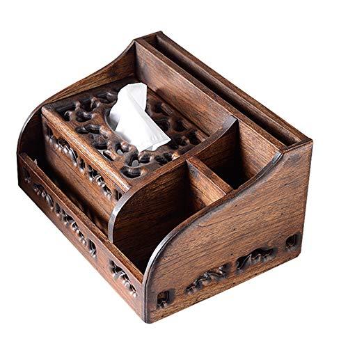 Kimmyer Rechteck Tissue Box Cover, Multifunktions Vintage Holz WC Tissue Box Inhaber, große handgemachte Wohnzimmer dekorative Tissue Dispenser -