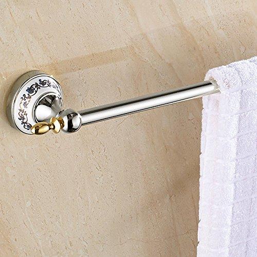 KaO0YaN Handtuchhalter Wand Bad Handtuchstange Badetuchhalter Anhänger-frei perforiert Handtuch hängen blau und weiß Porzellan Einzelstab Keramik Loch 40cm -