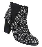 Damen Stiefeletten Schuhe Kurzschaft Strass Deko Boots Schwarz 36 37 38 39 40 41