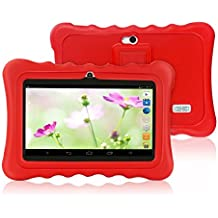 Yuntab Q88H Tablet para niños - Tablet Infantil de 7 Pulgadas Incluye iWawa Software niños Pre-instalado ( Android 4.4.2 KitKat, Quad-Core, WiFi, Bluetooth, HD 1024x600, 32 GB, 8GB ROM, Doble Cámara, Google Play) (Tableta blanco, Caja rojo)
