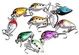 RUNakan 10 Pcs Minnow Fishing Lures Bass Floating Swing Crank Bait Tackle Hooks