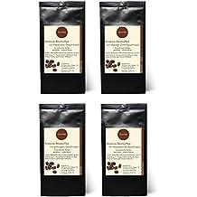 4 x Kaffee mit Geschmack Geschenkset - Haselnuss, Mandel-Zimt, Sahne, Macadamia - Arabica Röstkaffee mit Aroma - gemahlen - 4 x 75 g (300 g insgesamt)