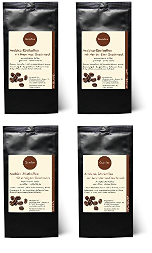 Kaffee Geschenk Set - 4 x Kaffee mit Geschmack als Kaffee Probierset - Haselnuss, Mandel-Zimt, Sahne, Macadamia - Arabica Röstkaffee mit Aroma - gemahlen - 4 x 75 g (300 g insgesamt)
