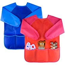 Kuuqa 2 Piezas Impermeable Delantales de Niño para Cocina y la Pintura (Pinturas y Cepillos No Incluido)