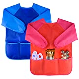 Kuuqa 2 Stücke Wasserdicht Kinder Malschürze Kunstkittel Kinderschürze (Farben und Pinsel Nicht Enthalten)