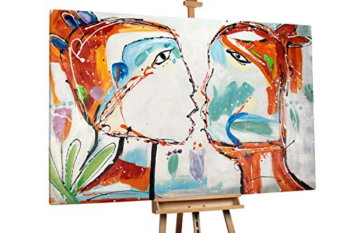 'Proximity' 180x120cm | Liebespaar Kuss Romantisch Rot Weiß | Modernes Kunst Ölbild