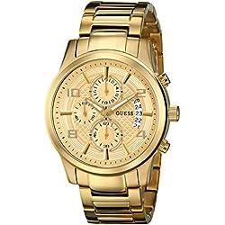 Guess U0075G5 - Reloj para Hombres, Correa de Acero Inoxidable Color Dorado