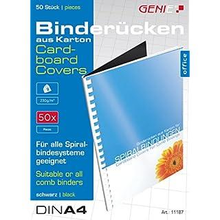 Genie 11187 Karton-Rücken (DIN A4, 230 g/qm, geeignet für alle Bindegeräte) 50 Stück schwarz