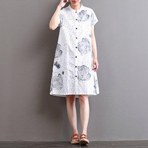 der stempel im langen kleid kragen futter kleid l weiß