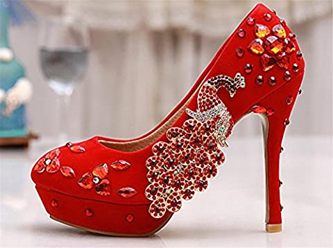 MNII SoiréE De Mariage Pour Femme Evening High Heel Platforms Rhinestones En Cristal Lace Stiletto Bride Court Shoes , 34 [leather lining]- bonne qualité