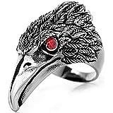 Red Eye Stainless Steel Eagle Hawk Ring Band Men Titanium Ring US 10