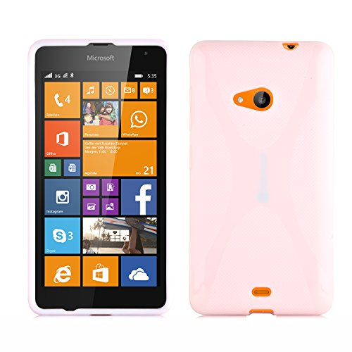 Preisvergleich Produktbild Cadorabo DE-102443 Nokia Lumia 535 Handyhülle aus flexiblem TPU Silikon im X-Line Design Transparent