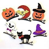 Tinksky 6pcs Halloween Masquerade Party Cosplay Hair Clips Pumpkin Bat Ghost Black Cat Sorcière Hat Hairpins Headwear Accessoires pour cheveux Enfants Cadeaux pour enfants Costumes d'Halloween