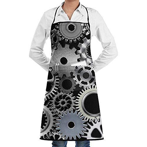 UQ Galaxy Küchenschürze,Steampunk War Machines Schürze Lace Unisex Chef verstellbare Lange vollschwarze Küche Schürzen Lätzchen mit Taschen für Restaurant Backen BBQ (War Machine Kostüm)