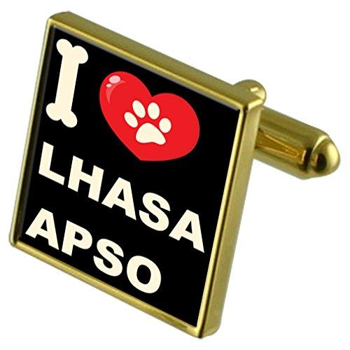 Select Gifts Ich liebe meinen Hund Gold-Tone Manschettenknöpfe & Geld Clip-Lhasa Apso -