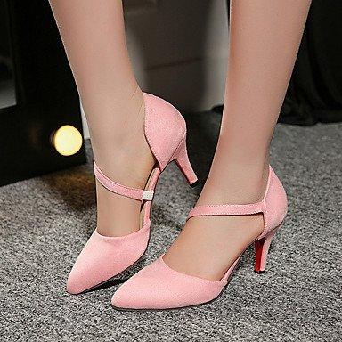LvYuan Da donna-Sandali-Formale Casual Serata e festa-Altro-A stiletto-Felpato-Nero Rosa Rosso Grigio Red