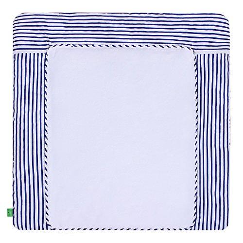 LULANDO Wickelauflage mit 2 abnehmbaren und wasserundurchlässigen Bezügen. 75 x 80 cm oder 75 x 85 cm. Oberstoff 100 % Baumwolle. Passend u.a. für die Kommode IKEA Malm oder Hemnes.