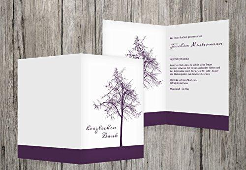 Trauerkarten-Druck   Danksagung Trauer   Danksagung Trauer Tree   10 Karten   mit Individualisierung & Umschlägen   in dunklesLavendelLila