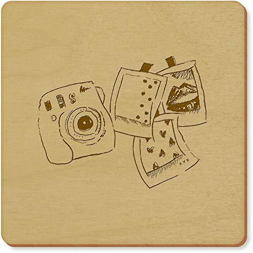 Azeeda 6 x 'Polaroid-Set' Quadratisch Hölzerne Untersetzer (CR00024686)