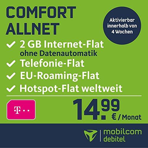 mobilcom-debitel Comfort Allnet im Telekom Netz (14,99 EUR monatlich, 24 Monate Laufzeit, Telefonie-Flat in alle deutschen Netze, EU-Flat, 2GB Internet Flat mit max. 21,6 MBit/s, Triple-Sim-Karten)