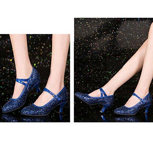 Byjia Frauen Latin Dance High Heel Sandalen Schuhe Sequins Leder Gürtelschnalle Ballroom Bankett Blue