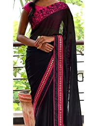 PRIYANKA TRENDS Black & Pink Color 60GM & Raw Silk Fabric Multiwork Saree