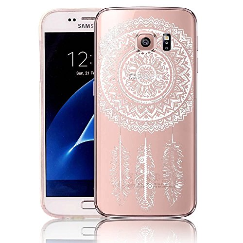 Vandot Samsung Galaxy S7 Edge SM-G935F Custodia in Silicone ,Ultra Sottile Clear Transparente Slim Fit Snap-On Protettivo Floral Pattern TPU Bumper - Henna Bianca Dream Catcher Ethnic Tribal