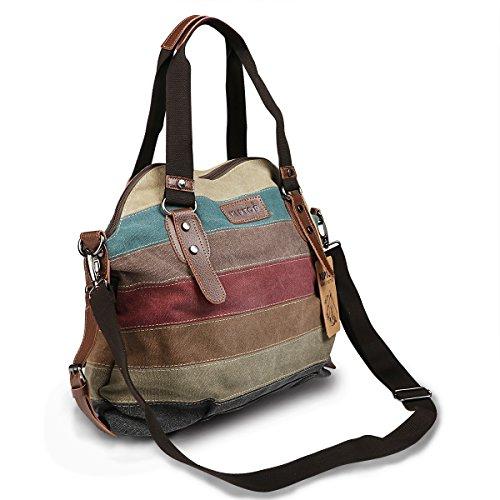 KIPTOP Wasserdicht Umhängetasche Vintage Canvas Leder Messenger Bag Aktentasche Schultertasche 16 Zoll Laptoptasche Notebooktasche aus Canvas und Leder (Klassischer Stil: Khaki) Frau Segeltuchtasche