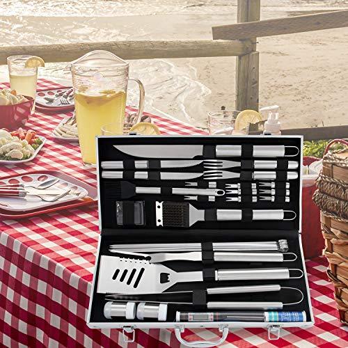 51RwzzOx0DL - Romanticist 27pcs Grillbesteck Koffer - Heavy Duty Komplette Edelstahl Grill Zubehör mit Aluminium Aufbewahrungskoffer Männer Camping Grillen