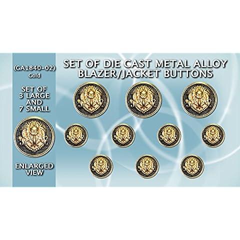 Di metallo pressofuso Blazer bottoni GA 1840-02, Set di bottoni, colore: oro con stemma, colore: (Nero Sport Coat Blazer)