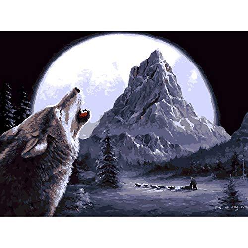JUNSZYH Digitale Malerei,Berg Runde Mond Wolf Tier,Ölfarbe Malen Nach Zahlen DIY Bild Zeichnung Färbung Auf Leinwand Malen Von Hand Wand Malen Nach Zahlen,16X20 Zoll DIY Rahmen -