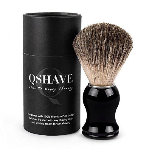 QSHAVE - Pennello da rasatura, setole 100% in tasso vero, realizzato a mano con manico in resina plastica, la scelta migliore per una rasatura umida con rasoio elettrico