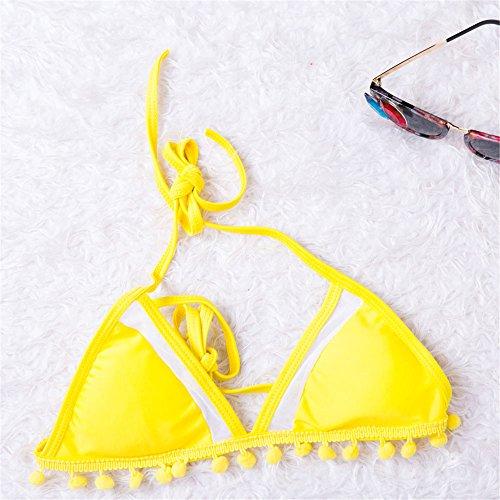 Italily -Swimwear del costume da bagno del costume da bagno del costume da bagno della cinghia del reggiseno della maglia del reggiseno imbottito push-up delle donne Yellow