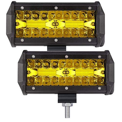 120w Licht Lampe (7 Zoll 2 X 120W Flut LED arbeits Licht Driving Lampe nicht für ATV-LKW-Schnee 12V / 24V(Gelb))