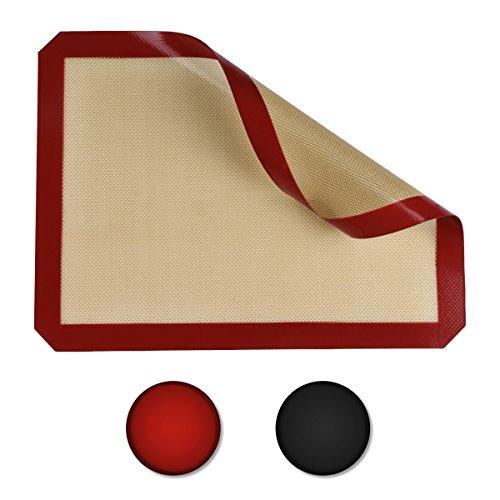 Belmalia Plancha de Silicona para bandejas de Horno, Papel de Horno, Fibra de Vidrio 40x30cm Rojo Marrón