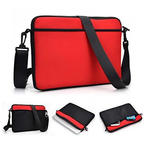 Kroo Laptop-Umhängetasche für Archos 101XS 2Tablet, kompatibel mit den meisten Geräte bis 32cm rot rot