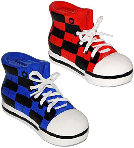 alles-meine.de GmbH 2 Stück _ Sparschweine -  Schuhe Sneaker / Sportschuh  - mit echten Schnürsenkel ! - stabile Sparbüchse aus Porzellan / Keramik - 3-D Effekt - für Kinder & ..