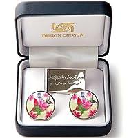 Marker für Golfbälle Klammer für Hut clip Geld Clip in Perlmutt und Edelstahl mit Design Schmetterling und Blumen pink