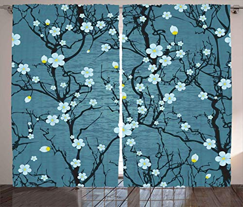 FAFANIQ Floral Curtains, Sakura Tree Branches Pale Japanese Cherry Blossom Spring Form, Living Room Bedroom Window Drapes 2 Panel Set,...