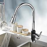 ETmla Moderner Hoch- / Hoch-Bogen Pull-Out/Pull-down Centerset Ausziehspray Keramikventil Einhand-Einloch-Chrom, Küchenarmatur