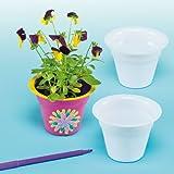 Macetas para Flores Para Colorear y Decorar. Manualidades Creativas para Niños Perfectas para Fiestas de Primavera y Verano (Pack de 10)