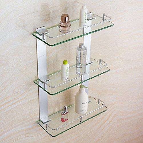 WENZHE Duschecke Ablagen Badezimmerregal Badregal Duschregal Regale Wandregal Aluminium Glas Multifunktion 3 Schichten, 8 Größen (Farbe : 600mm)
