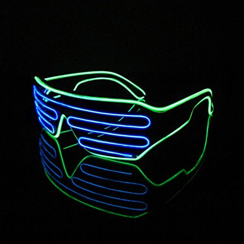 Lerway 2 Bicolor EL Wire Leuchtbrille Leuchten LED Shutter Shade Brille Fun Konzert + Soundsteuerung Box für Masquerade Party, Nacht Pub,Bar Klub Rave,70er 80er 90er Kostüm (Blau + Hellgrün) (Lego Mann Kostüm Kopf)