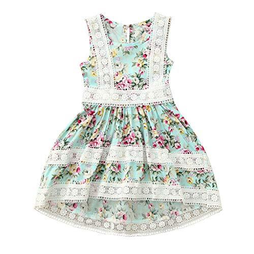 Prinzessin Kleid Mädchen Pwtchenty Sommerkleid Ärmellos Blumendruck Spitze Partykleid Festliche Kleider Strampler Spielanzug Kinderbekleidung