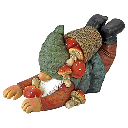 Design Toscano Schwerfällig, Karl the Mushroom Hunter Gnome Statue