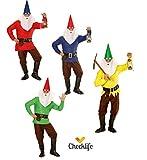 Kostüm Zwerg rot gelb blau grün Zwergenkostüm Gnome Faschingskostüm 901623 Checklife (Small, blau)